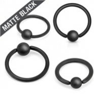 14G Matte Black Captive Bead Ring