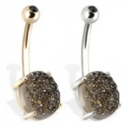 14K  Gold Belly Ring with Black  Druzy And Gem Ball