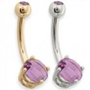 14K Gold Amethyst Checkered Gem Navel Ring, 14 ga