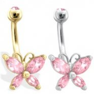 14K Gold Butterfly Belly Ring, Pink