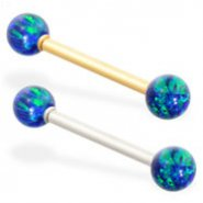 14K Gold straight barbell with Blue Green opal balls