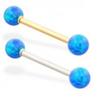 14K Gold straight barbell with Blue opal balls