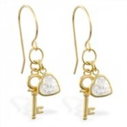 14K Yellow Gold earrings with dangling key and CZ jeweled heart, 20 ga