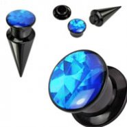 2-In-1 Interchangeable Black Acrylic Screw Fit Taper With Blue Prism Insert