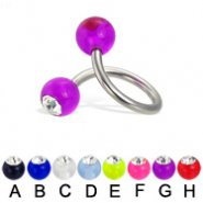 Acrylic ball with stone spiral barbell, 14 ga