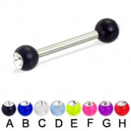 Acrylic ball with stone straight barbell, 12ga