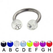 Acrylic ball with stone titanium circular barbell, 12ga