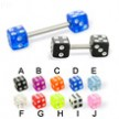 Acrylic dice straight barbell, 14 ga