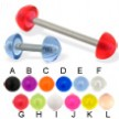 Acrylic half ball straight barbell, 14 ga