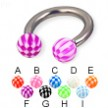 Checkered ball titanium circular barbell, 10 ga