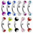 Curved Barbell with Double Jeweled Acrylic UV Balls, 16 Ga