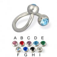 Double jeweled spiral barbell, 14 ga