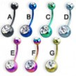 Double jeweled titanium anodized belly button ring, 16 ga
