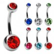 Double jeweled titanium belly ring