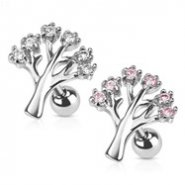 Gemmed Tree Surgical Steel Cartilage/Tragus Barbell
