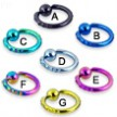 Titanium anodized fancy notched captive bead ring, 10 ga