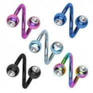 Titanium anodized twister barbell with jeweled balls, 16 ga
