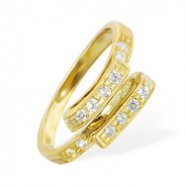 10K real gold folded jeweled toe ring