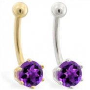 14K Gold belly button ring with 6-prong Amethyst