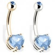 14K Gold Belly Button Ring with Aqua Heart-Shaped Stone And Jeweled Top Ball