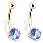 14K Gold Belly Ring with 6 mm Aquamarine CZ