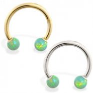 14K Gold Horseshoe/Circular Barbell with Green Opal Balls