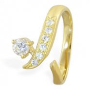 14K Gold Jeweled Toe Ring With Round CZ