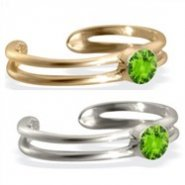 14K gold toe ring with single Peridot gem