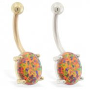 14K real gold (Nickel free) belly ring with Mexican Opal Stone