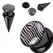 2-In-1 Interchangeable Black Acrylic Screw Fit Taper With Zebra Print