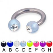 Acrylic ball with stone titanium circular barbell, 10 ga
