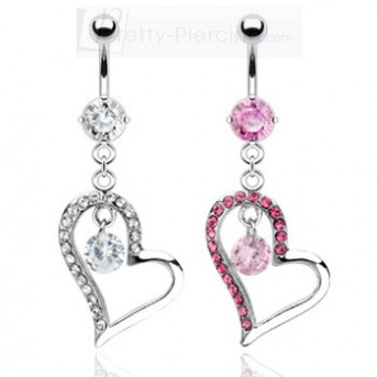 Belly ring with dangling jeweled heart with stone