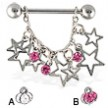 Dangling stars nipple ring, 14 ga