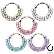 Double Line Round Paved Gems Surgical Steel Septum Clicker