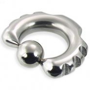 Fancy notched captive bead ring, 2 ga