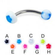Flower ball and half ball curved barbell, 14 ga