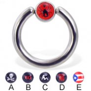 Logo captive bead ring, 10 ga