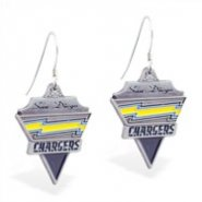 Mspiercing Sterling Silver Earrings With Official Licensed Pewter NFL Charm, San Diego Chargers
