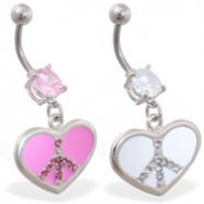 Navel ring with dangling jeweled peace heart