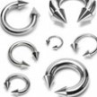 Stainless steel circular (horseshoe) barbell with cones, 2 ga