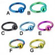 Titanium anodized captive bead ring, 12 ga